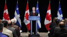 Canada's Prime Minister Stephen Harper speaks during a news conference at the Hilton hotel in Quebec City, August 2, 2013. (MATHIEU BELANGER/REUTERS)