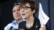 "Cindy Blackstock (R), executive director of the First Nations Child and Family Caring Society Caring Society, speaks during a news conference in Ottawa, Canada, January 26, 2016. Ms. Blackstock said the argument that the tribunal does not have the power to oversee the execution of its orders ""was kind of a shocking thing for me to see."" (CHRIS WATTIE/REUTERS)"