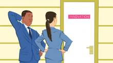 """An illustration of a man and a woman in business suits, puzzled, looking toward a door labelled """"Innovation."""" (Jori Bolton for The Globe and Mail)"""