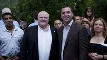 "ETOBICOKE, ON: SEPTEMBER 2, 2011 -- Mayor Rob Ford poses for a photograph with Ontario Progressive Conservative Leader Tim Hudak at his barbecue, which people were calling ""Ford Fest,"" at his mother's house in Etobicoke on Friday, September 2, 2011. (Matthew Sherwood For The Globe and Mail)"