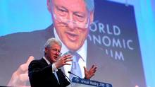 Former US president Bill Clinton talks during the Special Session on Haiti, on the second day of the World Economic Forum meeting in Davos on Thursday. (PIERRE VERDY/AFP/Getty Images)
