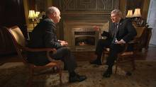 Peter Mansbridge interviews Prime Minister Stephen Harper on monday Jan.17, 2011. (CBC News: The National/CBC News: The National)