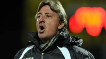 FILE - In this Nov. 29, 2010 file picture FC Luganos Swiss head coach Marco Schallibaum shouts instructions during the Challenge League soccer match between FC Lugano and FC Aarau at the Cornaredo stadium in Lugano (Associated Press)