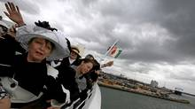 Carmel Bradburn of Adelaide, South Australia waves as the Titanic Memorial Cruise leaves port in Southampton, England April 8, 2012. The cruise retraces the voyage of the ill-fated Titanic liner, which hit an iceberg and sank 100 years ago on April 15, 1912. (Chris Helgren/Reuters/Chris Helgren/Reuters)