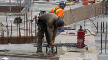 Construction work being done on a condominium project in downtown Toronto. (Deborah Baic/The Globe and Mail)