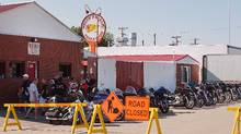 Members meet at the Hells Angels Club House in Saskatoon on Thursday. (Liam Richards/The Canadian Press)