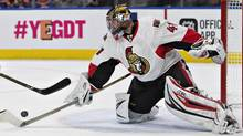 Ottawa Senators' Craig Anderson (41) makes a save during second period NHL action against the Edmonton Oilers, in Edmonton on Sunday, October 30, 2016 (JASON FRANSON/THE CANADIAN PRESS)