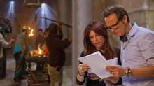 Mark Burnett and Roma Downey with the cast and crew on set at the Ouarzazate Museum location for The Bible. (Joe Alblas)