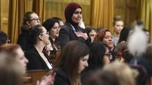 Srosh Hassan delivers a statement during a Daughters of the Vote event, organized by Equal Voice Canada, in the House of Commons Wednesday (Sean Kilpatrick/THE CANADIAN PRESS)