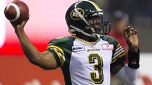 Edmonton Eskimos quarterback Steven Jyles throws the ball during the first half of a CFL game against the B.C. Lions in Vancouver, B.C., on Friday July 20, 2012. (JONATHAN HAYWARD/THE CANADIAN PRESS)
