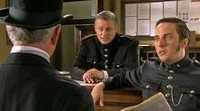 Prime Minister Stephen Harper appears as a desk sergeant in an episode of the Victorian-era crime drama Murdoch Mysteries. (CityTV)