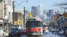 Looking east along Dundas St. West toward downtown Toronto. (Fred Lum/The Globe and Mail)