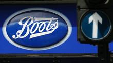A sign outside a store of pharmacy and cosmetics chain Boots is seen in London, in this May 16, 2011 file photo. Drug retailer Walgreen Co is buying a 45 percent stake in the European health and beauty group alliance Boots for $6.7 billion in cash and stock, creating the world's biggest buyer of prescription drugs. (Reuters)