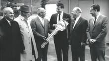 Max Soriano accepts a novelty key from Seattle mayor Dorm Braman outside Sicks Stadium in 1969. (David Eskenazi Collection)