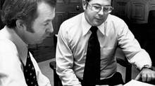 William Neville, right, sets to work on Feb. 26, 1976, as Progressive Conservative leader Joe Clark's chief of staff. (Fred Chartrand/The Canadian Press)