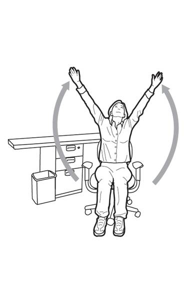 Sit up straight in your bed or chair. Swoop your arms sideways up toward the ceiling while simultaneously looking up at your hands.