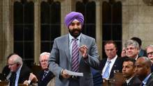 Innovation, Science and Economic Development Minister Navdeep Bains stands during question period in the House of Commons on Parliament Hill in Ottawa on Monday, June 12, 2017. (Sean Kilpatrick/THE CANADIAN PRESS)