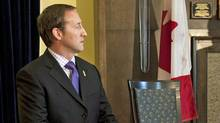 Defence Minister Peter MacKay appears at a news conference in Halifax on April 10, 2012. (Andrew Vaughan/Andrew Vaughan / The Canadian Press)