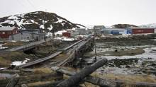 The village of Teriberka, 120 kilometres east of Murmansk, had been designated by Gazprom as its first onshore transit point for gas from the massive Shtokman field. Picture taken April 16, 2010. (STAFF/REUTERS)