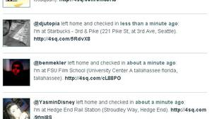 pleaserobme.com posts tweets from location-sharing service, Foursquare and presents them is a list of