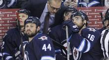 Winnipeg Jets head coach Paul Maurice talks to his players during third period NHL action against the Los Angeles Kings in Winnipeg on Thursday, March 6, 2014. (JOHN WOODS/THE CANADIAN PRESS)