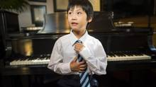 Samuel Zhu at his piano teacher's studio in White Rock, B.C. (John Lehmann/The Globe and Mail)