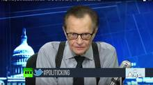Former CNN personality Larry King now plays host to two shows on Russia Today, a Moscow-backed TV station that is readily available in Canada. (RT America/YouTube)