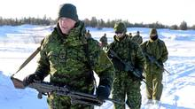 Soldiers of the 3rd Battalion of Princess Patricia's Light Infantry (PPCLI) practise battle procedure on an open field in Forward Operational Base (FOB) Wolf, in Yellowknife during Exercise ARCTIC RAM. (DND\Cpl Philippe Archambault/Cpl. Philippe Archambault/Courtesy Department of National Defence)
