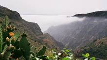 Fog covers the Valle Del Rey, Valley of the King, on La Gomera Island in the Spanish Canary Islands. (MIGUEL TORRES/Associated Press)