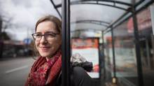 Kate Bond, who won a $25,000 prize for screenwriting, waits for a bus on Commercial Drive, in Vancouver, B.C., on Wednesday March 29, 2017. (DARRYL DYCK/THE GLOBE AND MAIL)