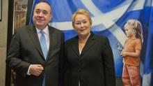 Scotland's First Minister Alex Salmond, left, greets Quebec's Premier Pauline Marois at his office in the Scottish Parliament in Edinburgh on Jan. 29, 2013. (Chris Watt/Reuters)