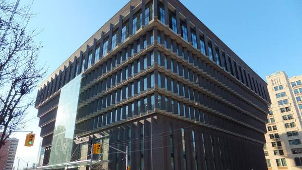The removal of hoardings a few weeks ago revealed Infrastructure Ontario's $100-million facelift of Toronto's unique upside-down pyramid building at 222 Jarvis St. (Wallace Immen/The Globe and Mail)