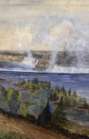 Artist Anthony Crease's Niagara Falls, circa 1850. Starting in 1859, the falls became a hot spot for daredevils looking to shock their audiences with risky stunts. (Toronto Public Library)