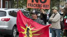 Demonstrators rally against shale gas exploration in Halifax on Friday, Oct.18, 2013. (Andrew Vaughan/THE CANADIAN PRESS)