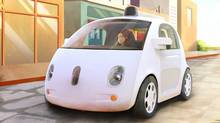 This image provided by Google shows an artistic rendering of the company's self-driving car. The two-seater won't be sold publicly, but Google on Tuesday, May 27, 2014 said it hopes by this time next year, 100 prototypes will be on public roads. (AP Photo/Google) (AP)