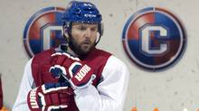 Montreal Canadiens left wing Thomas Vanek takes part in the team's practice Wednesday, May 21, 2014 in Brossard, Que. (The Canadian Press)
