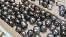 A tray of Tahitian pearls on display at a pearl shop in Papeete. (Domini Clark/The Globe and Mail)