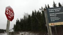 A traffic sign on Highway 17 at the turn off to the Experimental Lakes Area near Kenora, Ont. that had the name Harper added to it is photographed Nov. 1, 2012. The research facility examines, using experimental lakes, the effect of human activities on lakes and their watersheds. (Fred Lum/The Globe and Mail)