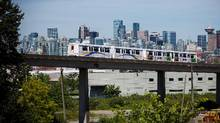 A Skytrain is pictured in transit in downtown Vancouver, British Columbia on June 5, 2016. (Ben Nelms for The Globe and Mail)
