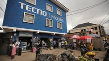 A mobile phone shop in the Computer Village neighbourhood of Lagos, Nigeria, where many of the country's mobile phones are sold. Phones may be a better way to deliver online education in low-resource areas. (Iain Marlow/The Globe and Mail)