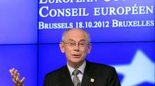 European Council President Herman Van Rompuy speaks at a news conference at the end of the first session of a two-day European Union (EU) leaders summit in Brussels Oct. 19, 2012. EU leaders took a big stride towards establishing a single banking supervisor for the euro zone. (YVES HERMAN/REUTERS)