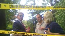 "FBI agents gather in front of the two-story residence in Yonkers, N.Y. where two suspected Russian secret agents Vicky Pelaez and a man known as ""Juan Lazaro"" were arrested on Monday June 28, 2010. (Shawn Cohen/The Journal News, Shawn Cohen/AP)"