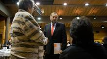 Thomas Mulcair, centre, does not think many of his MPs will leave for a bid at B.C. leadership. (DARRYL DYCK)