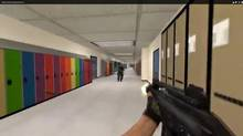 A screen capture from Counter-Strike showing a custom-built level based on a Vancouver-area high school.