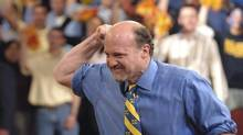 "In this photo provided by NBC Universal, Jim Cramer reacts during his show ""Mad Money with Jim Cramer"" at the University of Michigan, April 25, 2006, in Ann Arbor, Mich. (LEON HALIP/AP)"