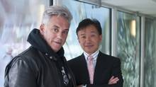 Artist James Lahey, left, and developer Gabriel Leung. Mr. Lahey, an artist, designed the public art installation of Toronto tree blossoms for Concord Adex's newest building. (Jennifer Yeaman)