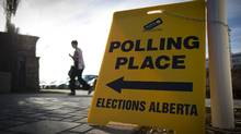 Voters turn up at a polling station in High River, Alberta April 23, 2012. (John Lehmann/The Globe and Mail/John Lehmann/The Globe and Mail)