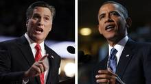 A combination file photos show Republican presidential nominee Mitt Romney (L) and U.S. President Barack Obama speaking at the Republican National Convention in Tampa, Florida on August 30, 2012 and at the Democratic National Convention in Charlotte, North Carolina, September 6, 2012 respectively. (Shannon Stapleton/Reuters)