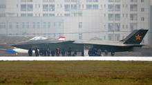 What is reported to be a Chinese stealth fighter, is seen in Chengdu, Sichuan province, January 5, 2011. The U.S. military believes the aircraft is a J-20 stealth fighter prototype. The picture was supplied by Kyodo news agency on January 6, 2011. (Reuters/Reuters)