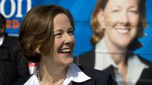 Alberta PC leader Alison Redford makes a campaign stop in Aldersyde, Alta., Tuesday, March 27, 2012. Albertans go to the polls on April 23. (Jeff McIntosh/The Canadian Press/Jeff McIntosh/The Canadian Press)